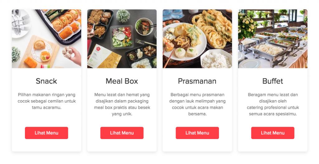 Beragam jenis penyajian untuk menu event mulai dari snack, meal box, prasmanan, hingga buffet.