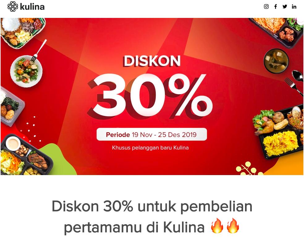7. Kulina - Diskon 30% untuk Pengguna Baru
